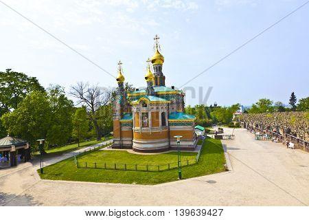 Russian orthodox church Darmstadt Germany under blue sky