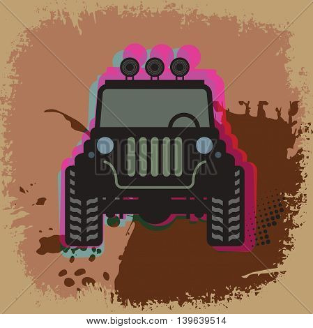 Abstract Off-road label or background, vector illustration