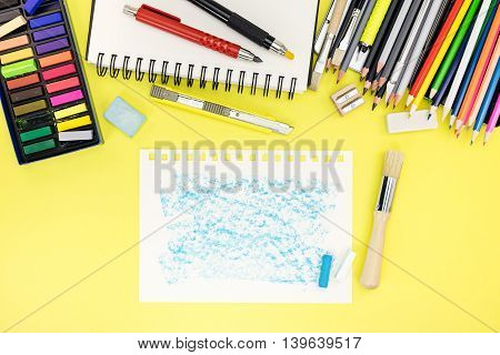 Pupil Workplace Background With Paper, Notebook And Other Office Stationary