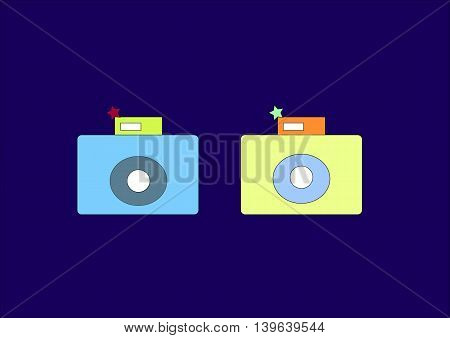 illustration which shows two camera on a dark background