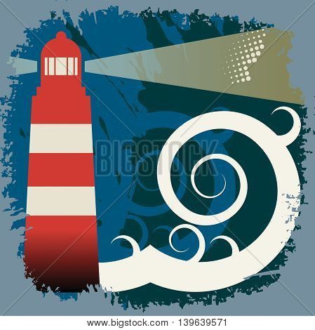 Red Lighthouse in sea storm, vector illustration