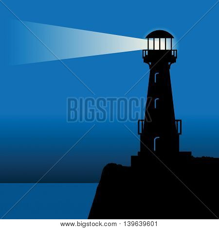 Abstract Lighthouse silhouette at night, vector illustration
