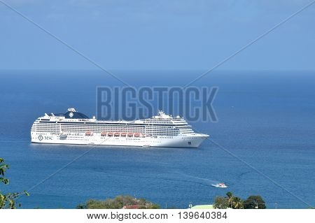 CASTRIES ST LUCIA CARIBBEAN: 19 January 2015: Cruise ship coming into harbour