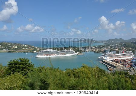 CASTRIES ST LUCIA CARIBBEAN 19 January 2015: Large Cruise Ship coming into harbour of castries St Lucia