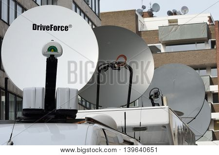CITY OF LONDON ENGLAND 13 March 2015: Mobile Media Satellite dishes