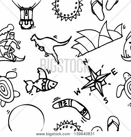 Australia tourism nature and culture pattern. Vector illustration, EPS 10
