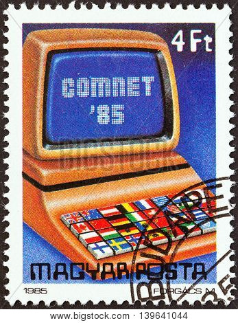 HUNGARY - CIRCA 1985: A stamp printed in Hungary issued for the COMNET '85 Computer Networks Conference, Budapest shows Flags on Computer Keyboard, circa 1985.