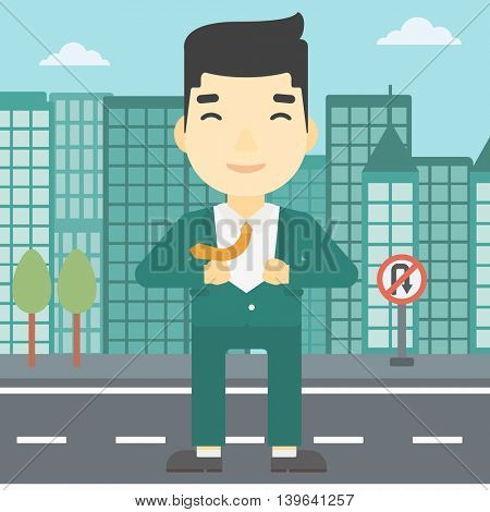 An asian young businessman opening his jacket like superhero on the background of modern city. Businessman superhero. Vector flat design illustration. Square layout.