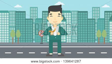 An asian young businessman opening his jacket like superhero on the background of modern city. Businessman superhero. Vector flat design illustration. Horizontal layout.