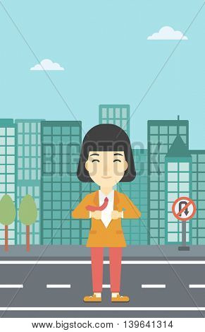 An asian young business woman opening her jacket like superhero on the background of modern city. Business woman superhero. Vector flat design illustration. Vertical layout.