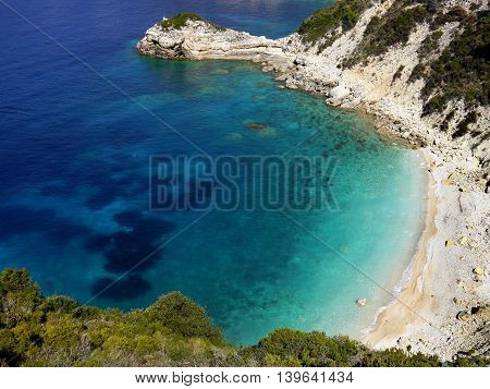 Sea azure beautiful bay in Greece island Paxos