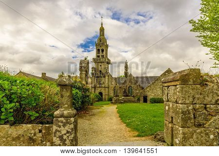Old Medieval Catholic church in Brittany, France