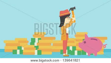 An asian young business woman breaking piggy bank on a blue background with stacks of coins. Concept of business bankruptcy. Vector flat design illustration. Horizontal layout.
