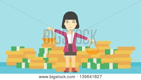 An asian young business woman holding scales in hands on a blue background with stacks of coins. Vector flat design illustration. Horizontal layout.