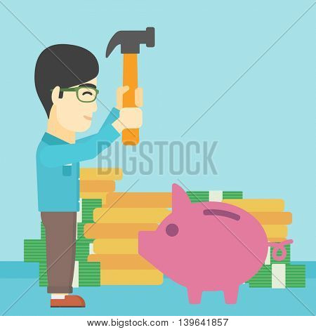An asian young businessman breaking piggy bank on a blue background with stacks of coins. Concept of business bankruptcy. Vector flat design illustration. Square layout.