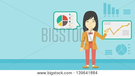 An asian business woman pointing at charts on a board during presentation. Woman giving business presentation. Business presentation in progress. Vector flat design illustration. Horizontal layout.