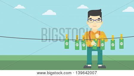 An asian young businessman drying banknotes on the clothesline on the background of blue sky. Man loundering money. Vector flat design illustration. Horizontal layout.