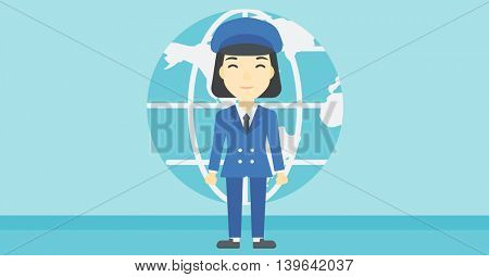 An asian business woman standing on a background of Earth globe. Business woman taking part in global business. Global business concept. Vector flat design illustration. Horizontal layout.