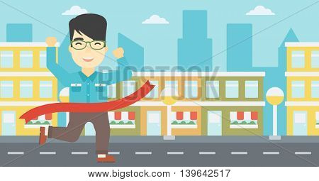 An asian young businessman running at the finish line. Businessman crossing finish line. Concept of business success. Vector flat design illustration. Horizontal layout.