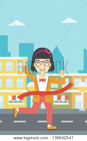 An asian young successful business woman running at the finish line. Business woman crossing finish line. Concept of business success. Vector flat design illustration. Vertical layout.