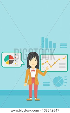 Asian business woman pointing at charts on a board during business presentation. Woman giving business presentation. Business presentation in progress. Vector flat design illustration. Vertical layout