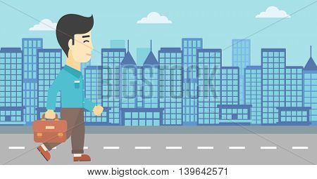 An asian young businessman walking with a briefcase. Businessman walking down the street. Vector flat design illustration. Horizontal layout.