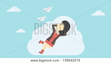 An asian business woman lying on a cloud and looking at flying paper plane. Business woman relaxing on a cloud. Vector flat design illustration. Horizontal layout.