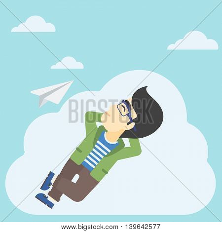 An asian businessman lying on a cloud and looking at flying paper plane. Businessman relaxing on a cloud. Vector flat design illustration. Square layout.