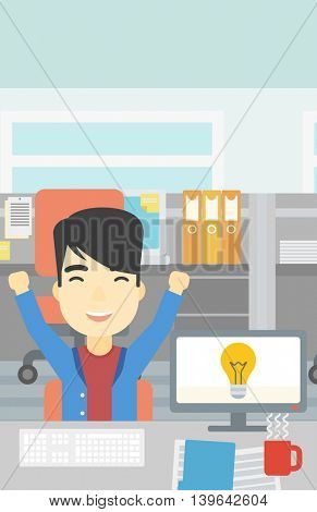 An asian businessman with arms up having a business idea. Man working on a computer with a business idea bulb on a screen. Business idea concept. Vector flat design illustration. Vertical layout.