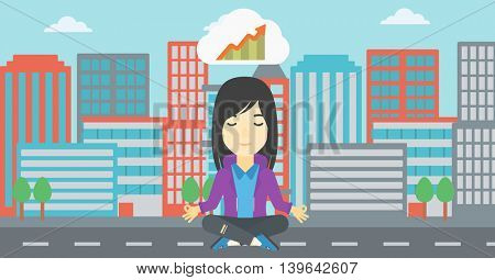 Asian business woman with eyes closed doing yoga. Woman thinking about growth graph and meditating in lotus pose. Vector flat design illustration. Vector flat design illustration. Horizontal layout.