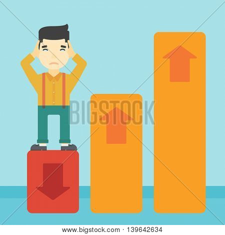An asian bankrupt clutching his head. Businessman standing on chart going down. Concept of business bankruptcy. Vector flat design illustration. Square layout.