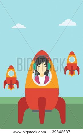 An asian business woman in headphones flying in the rocket. Successful business start up concept. Business rocket taking off. Vector flat design illustration. Vertical layout.