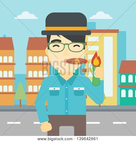 An asian businessman lighting a cigar with dollar bill. A successful businessman smoking a cigar on the background of modern city. Vector flat design illustration. Square layout.