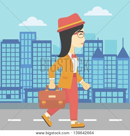 An asian young business woman walking with a briefcase. Business woman walking down the street. Vector flat design illustration. Square layout.