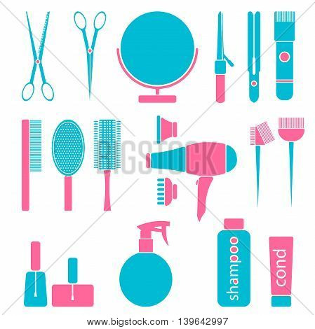 Beauty salon tools. Hairdresser styling accessories. Professional haircut icon set. Isolated vector illustration