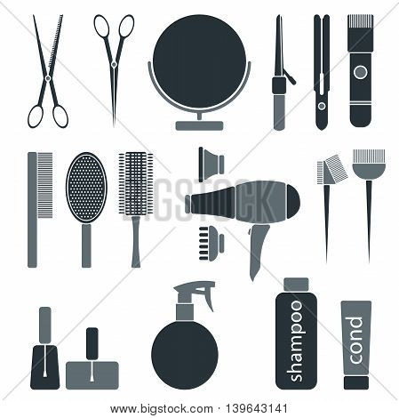 Beauty salon monochrome icon set. Hairdresser styling accessories. Professional haircut tools. Isolated vector illustration