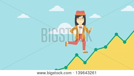 An asian young business woman running along the growth graph. Business woman going up. Happy business woman moving up. Successful business concept. Vector flat design illustration. Horizontal layout.