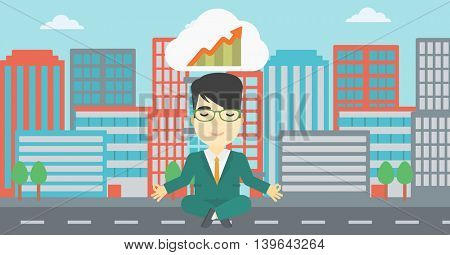 An asian businessman with eyes closed doing yoga. Businessman thinking about the growth graph and meditating in lotus pose on a city background. Vector flat design illustration. Horizontal layout.