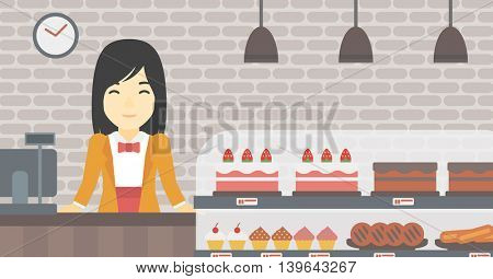 An asian smiling female bakery worker offering different pastry. A bakery worker standing behind the counter with cakes at the bakery. Vector flat design illustration. Horizontal layout.