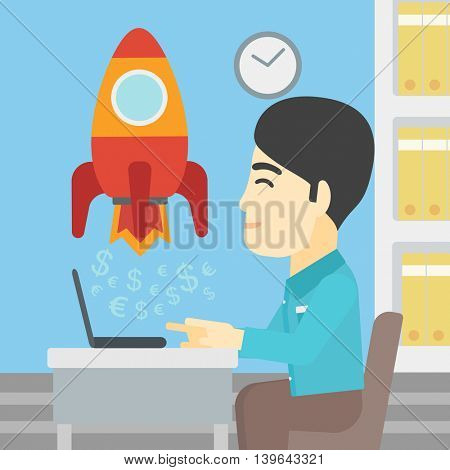 An asian young businessman sitting at the table and looking at a business start up rocket taking off. Business start up concept. Vector flat design illustration. Square layout.