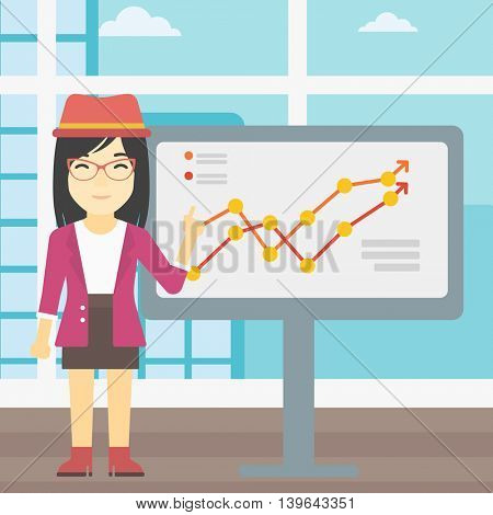 An asian young business woman pointing at charts on a board during business presentation. Smiling business woman giving a business presentation. Vector flat design illustration. Square layout.