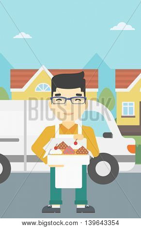 An asian smiling baker holding a box of cakes. Baker delivering cakes. A baker with cupcakes standing on the background of delivery truck. Vector flat design illustration. Vertical layout.