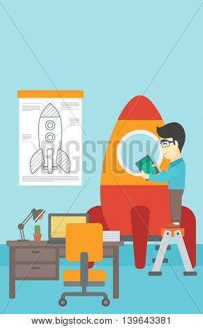 An asian man standing on ladder and engeneering a rocket. Man working on the start up of a new business. Business start up concept. Vector flat design illustration. Vertical layout.