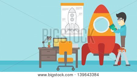 An asian man standing on ladder and engeneering a rocket. Man working on the start up of a new business. Business start up concept. Vector flat design illustration. Horizontal layout.