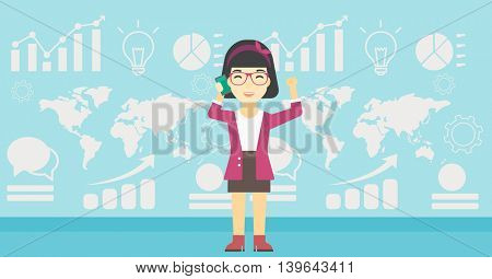 An asian happy business woman getting good news on mobile phone on the background of growth charts and map. Business success concept. Vector flat design illustration. Horizontal layout.