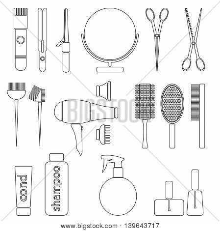 Beauty salon thin line icon set. Hairdresser styling accessories. Professional haircut tools. Isolated vector illustration