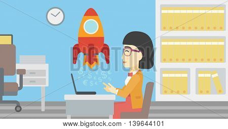 An asian young business woman sitting at the table and looking at a business start up rocket taking off. Business start up concept. Vector flat design illustration. Horizontal layout.