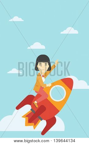 An asian business woman flying on the business start up rocket and pointing forefinger up. Successful business start up concept. Vector flat design illustration. Vertical layout.