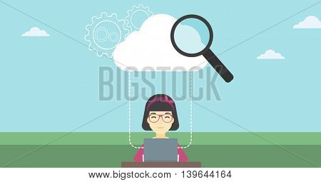 An asian  young business woman working on a laptop and cloud, magnifier and gears above her. Cloud computing concept. Vector flat design illustration. Horizontal layout.