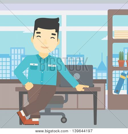 An asian businessman leaning on a table in the office. Young smiling businessman standing in the office. Vector flat design illustration. Square layout.